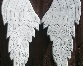 Wood Angel Wings in Erica 28x15 inches in Distressed Grey and White with a Pearl Sheen