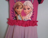 upcycled girls Frozen Dress  handmade Disney Frozen dress with official Disney shirt 3t