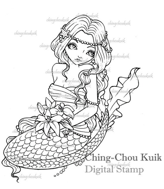 Lilies Commitment - Digital Digi Stamp Instant Download / Mermaid Bride Fantasy Art by Ching-Chou Kuik