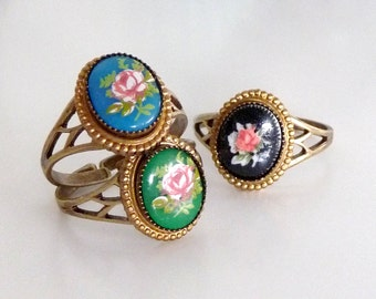 Vintage Rose Ring - Rose Cabochon Brass Ring - Adjustable - Caramba Ring (SD0632)