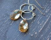 Golden Shadow Earrings, Champagne, Swarovski Crystal Earrings, Sterling Silver, Wedding, Bridal