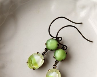 Lime Green Cocktail, Rhinestone Earrings, Chartreuse Green, Vintage Glass, Drop Earring