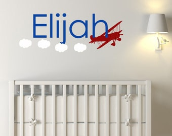 Custom baby Gift Plane Vinyl Decal, Kids Monogram Name wall decals, Airplane decals, Baby Boy Nursery Wall Art, Vinyl Decals for kids