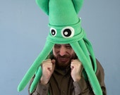 Large Plush Squid Hat - Green