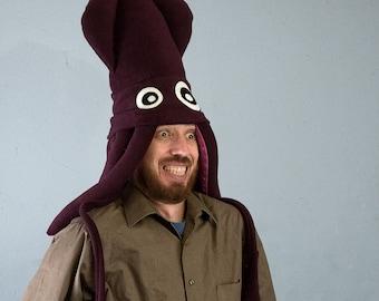 Large Fleece Squid Hat - Dark Blackberry Purple
