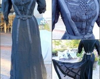 Victorian Edwardian Corset Mourning Dress Black & Incredible Needlework 2 Piece - Vintage ca. 1800s