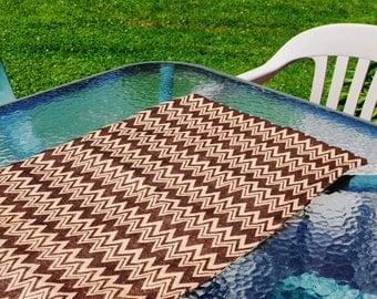 Handmade Burlap Table Runner Brown Chevron Brown Zig Zag Design Table Topper Dresser Scarf