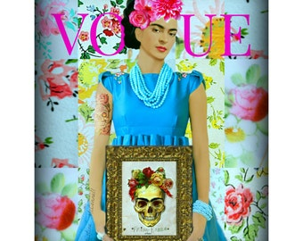 Frida Kahlo Vogue Spoof Instant Digital Download Original Print Photomontage Blue Pink Roses Fusion Small to Poster Skull Tattoo Magazine