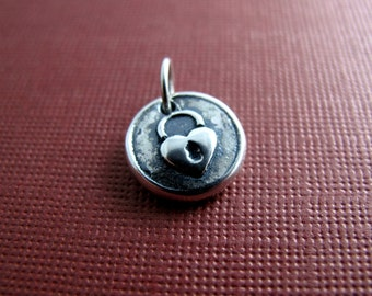 heart lock sterling silver charm