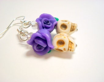 Tiny Ivory and Purple Day of the Dead Sugar Skull and Rose Earrings
