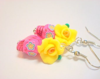 Bright Yellow and Pink Day of the Dead Roses and Sugar Skull Earrings