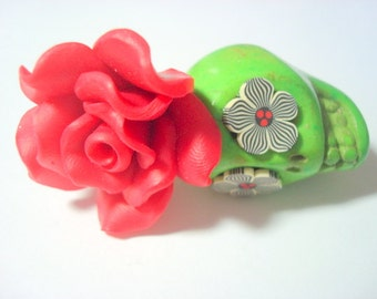 Gigantic Green Sugar Skull Pendant and Red Black White Daisy Eye Day of the Dead Pendant or Ornament