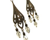 chandelier earrings in antique bronze finish with topaz grey glass drops