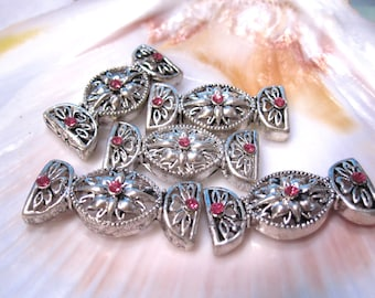 2 Swarovski Crystal and Silver Filigree Spacer Bars 26x11mm double strand 3mm between holes Rose/silver FN1028