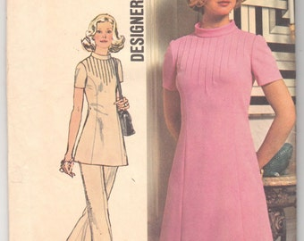 "Vintage Sewing Pattern 1970's Ladies' Dress, Tunic and Trousers 32 1/2"" Bust Simplicity 5345 - With FREE Pattern Grading E-book"