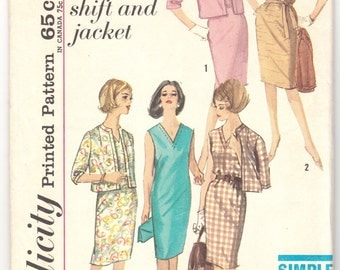 "1950's Vintage Sewing Pattern Ladies' Dress Simplicity 4894 34"" Bust Size 14 - Free Pattern Grading E-book Included"