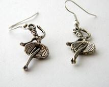 Silver Ballerina Earrings Dangle Earrings