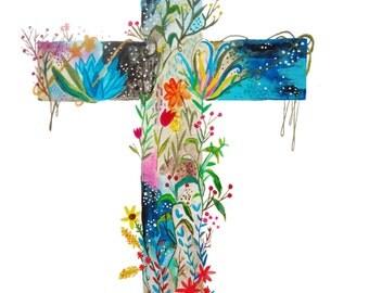 Blooming Cross Print