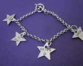 I love you to the stars and back charm bracelet  stainless steel stars silver chain bracelet toggle clasp
