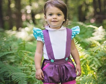The Fiona Suspender Shorts PDF Sewing Pattern Size 6-12 month - 9/10 Baby Girls Toddler
