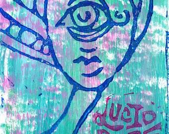 Cyclops Goddess Lucid Rose block print sticker