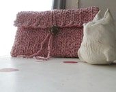 CLUTCH PINK CROCHET Silk Vintage Upcycle