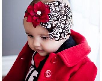 Baby headbands, Feather headbands, Flapper Headband, Baby girls headbands, Newborn photo prop, Hair bows, Black , White, Red, Hairbows, Girl