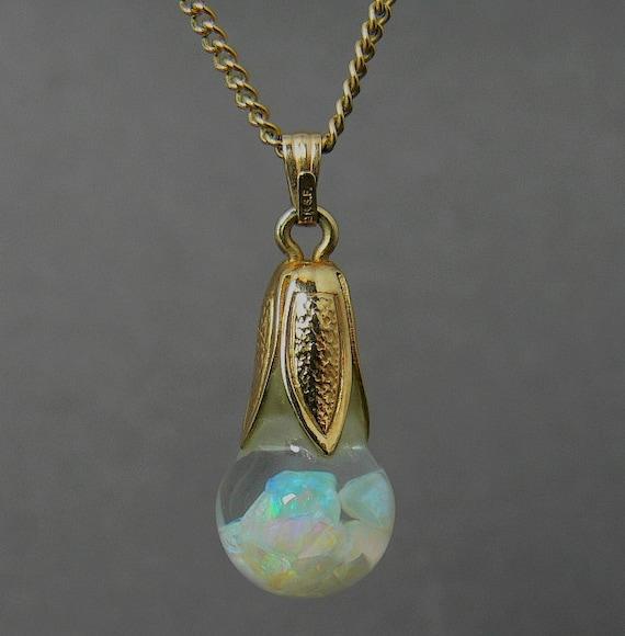 Vintage Gold Filled Floating Opal Pendant Necklace