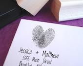 Fingerprint Heart Custom Rubber Address Stamp
