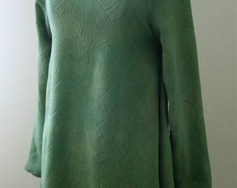 Naturally Dyed Leaf Green Cowl Neck Tunic in Silk Matelasse