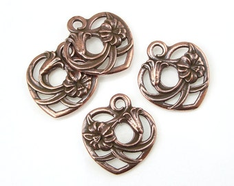 Copper Heart Charm - TierraCast FLORAL HEART Pendant for Valentine's Day - 19mm Antique Copper Charms (P1184)