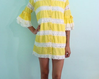 60s Vibrant Yellow Dainty Blouse - or  Beach Cover Up - bow lace