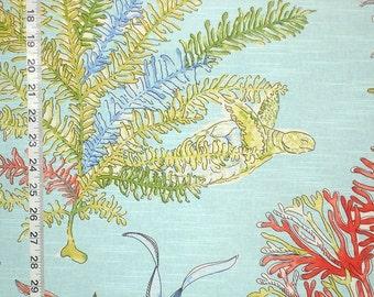 "Aqua blue ocean fabric red coral turtle interior home decorating material cotton 45"""