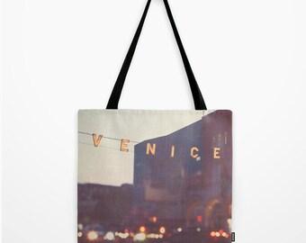 market tote bag, shopping bag, Venice California, plum purple, Venice beach sign photo, gold bokeh grocery bag school bag farmers market bag