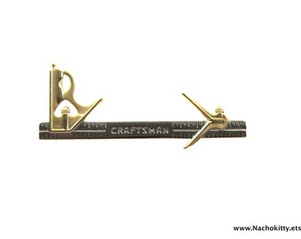 1970s Craftsman Tools Carpenters Tie Clip, Brass