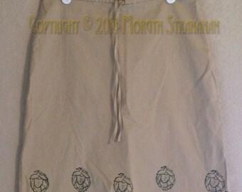 Hand printed Hops Skirt (Upcycled skirt size 4)