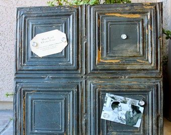 Architectural Salvage Magnetic Memo Board / Antique Ceiling Tin Wall Hanging / Urban Industrial Home Decor