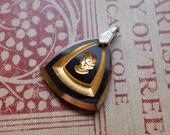 antique german gold and black glass intaglio pendant - vintage german glass charm cameo