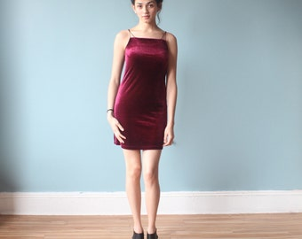 BCBG 90s velvet mini dress/ burgundy velvet party dress/ 1990s / small