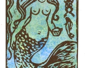 Mermaid Wall Art Miniature Watercolor Print Art Original ACEO Vintage Look