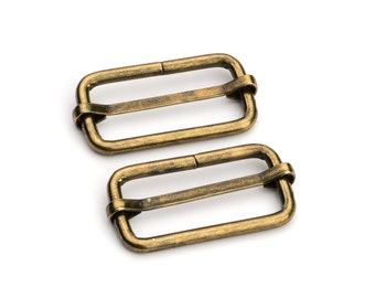 "30pcs - 1 1/4"" Adjustable Slide Buckle - Antique Brass - Free Shipping (SLIDE BUCKLE SBK-122)"