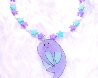 Sweet Little Narwhal Necklace - Shrink plastic pendant on a beaded star necklace in lilac and mint