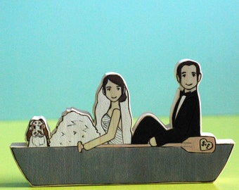 Custom Wedding Cake Topper Couple in  Canoe or Kayak with One Pet, Cat, Dog, Rabbit