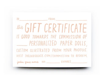 Gift Certificate for Paper Doll Portrait(s)