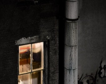 Two windows and pipe Old building in Chinatown Illuminated windows at night. Fine art Photography Print, signed.