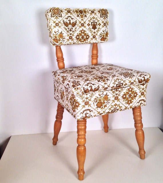 Vintage wooden sewing chair with storage seat for Chair with storage