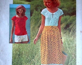 Vintage 70's Simplicity 6960 Jiffy Sewing Pattern, Misses' Pullover Top, Skirt And Shorts, Size Large 16 - 18, Bust 38 - 40