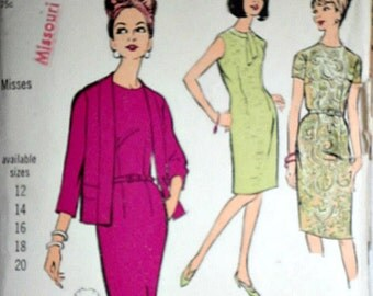 Vintage 60's Advance 3552 Sewing Pattern, Misses' Sheath Dress And Jacket, Size 16, 36 Bust