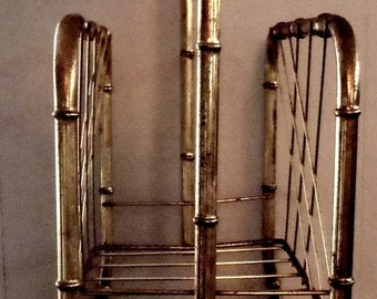 Vintage Bamboo Brass Magazine Floor Rack