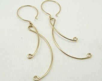 LYRIC EARRINGS, gold filled long ribbon dangle earrings